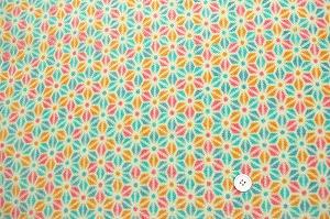 かわいい麻の葉の模様 レーヨンちりめん生地 青色 オレンジ色 ピンク色(0643-97)