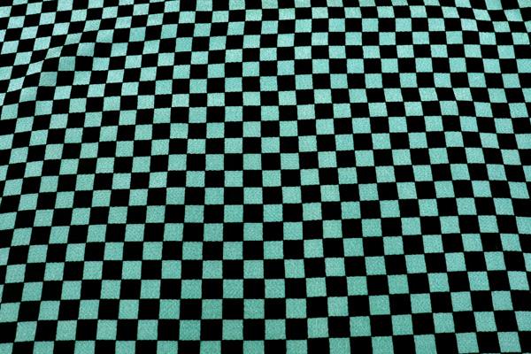 シンプルで可愛い市松格子の和風生地 レーヨンちりめん 緑×黒