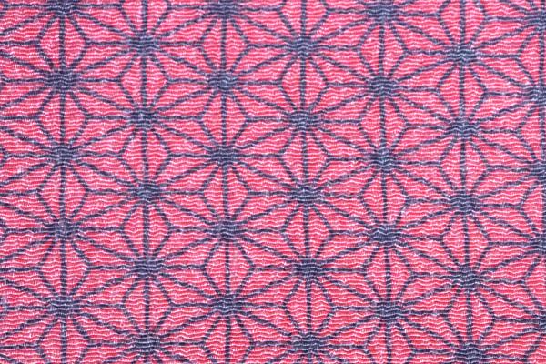 シンプルで可愛い麻の葉柄の和風生地 レーヨンちりめん くすんだピンク