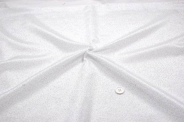 レーヨンちりめん生地 銀散らし ラメ生地 キラキラ生地 銀色のドット 白色地(0644-03)