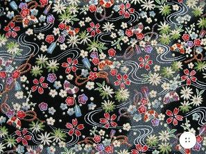 京都友禅柄 金彩ちりめん生地 花柄 和風生地 和生地 黒色(0647-13)