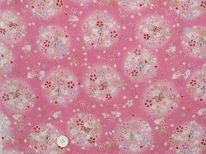 ちりめん友禅 金彩生地 可愛い小桜柄 桜の花びら うさぎ柄 ピンク色(0647-27)