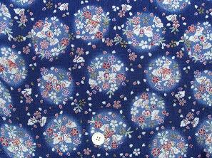 ちりめん友禅 金彩生地 可愛い小桜柄 桜の花びら うさぎ柄 青色 紺色(0647-28)