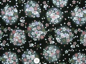 ちりめん友禅 金彩生地 可愛い小桜柄 桜の花びら うさぎ柄 黒色地(0647-30)