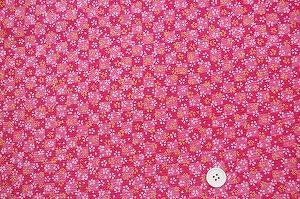 ちりめん友禅 可愛い小桜の和風生地 レーヨンちりめん生地 ピンク色(0647-64)