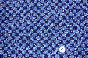 ちりめん友禅 可愛い小桜の和風生地 レーヨンちりめん生地 青色(0647-65)