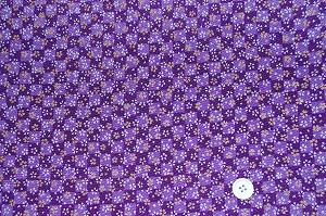 ちりめん友禅 可愛い小桜の和風生地 レーヨンちりめん生地 紫色(0647-66)