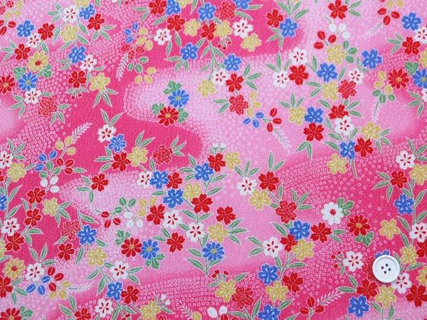 レーヨンちりめん友禅金彩生地 桜・笹・萩・菊・流水・鹿の子 ピンク