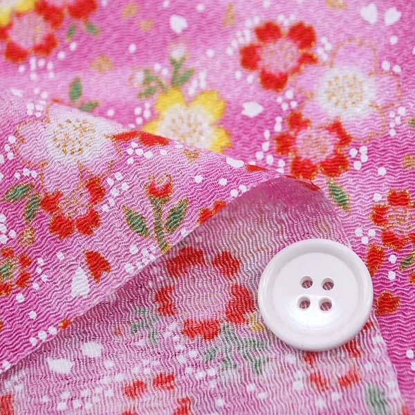 レーヨンちりめん友禅金彩生地 桜 ピンク