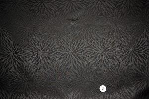 綸子 りんず 和風生地 和柄生地 着物の生地 和布(むじな菊 黒色・ブラック)(0649-28)