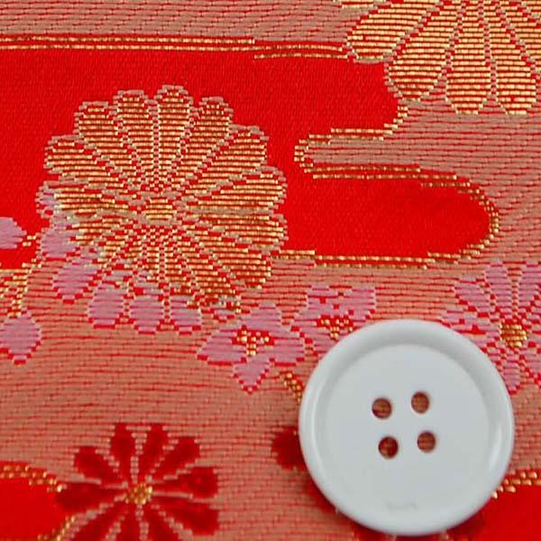 金襴 寿三丁 菊と江霞(えがすみ) 朱赤・金 0651-02