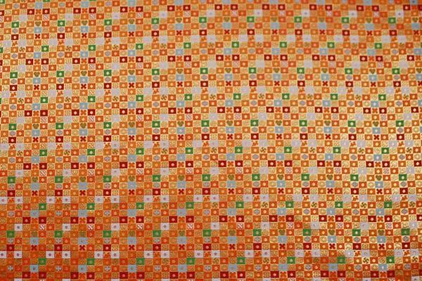 金襴 三丁サビ 宝入り石畳文(宝尽くし・市松柄) 橙色×赤×緑×白など 0651-14