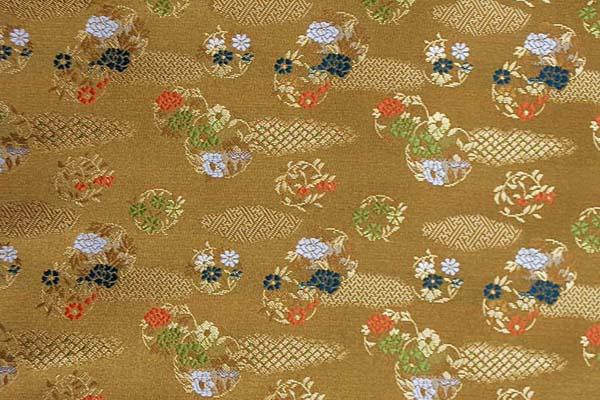 金襴 寿三丁 雲取と花の丸文 金色 0651-18