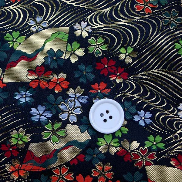 金襴 寿三丁 小桜と扇流し文 黒 0651-20