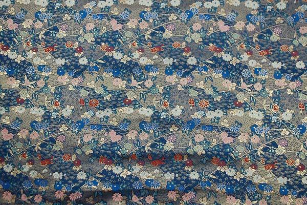 金襴 三丁サビ 花と笹蔓 紺色 0651-32