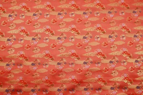 金襴 寿三丁 雲取と花の丸文 珊瑚朱色 0651-36