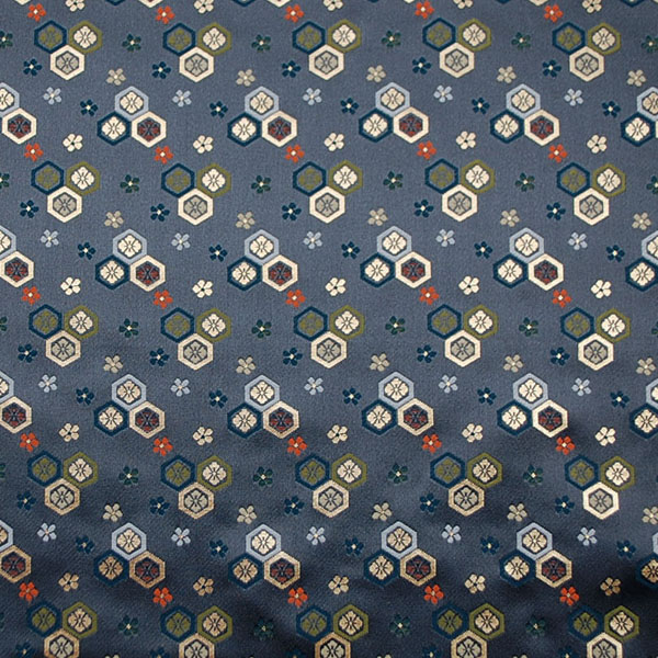 金襴 寿三丁 亀甲花菱と梅鉢 濃灰色 0651-44
