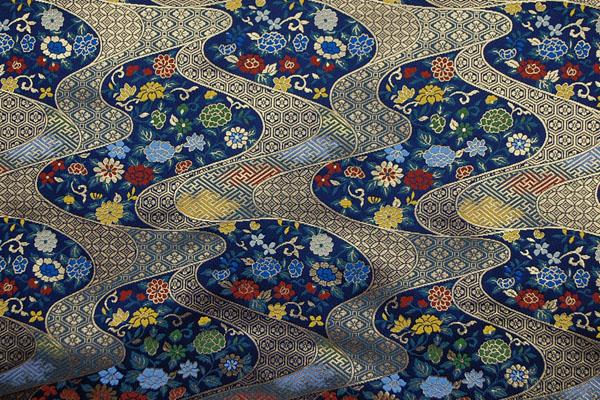 金襴 三丁サビ 花と流水 亀甲花菱・七宝・紗綾形(卍崩し) 濃紺 0651-46