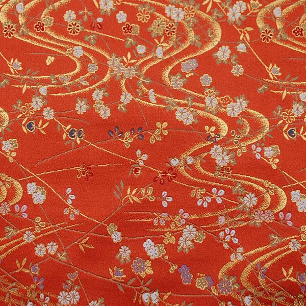 金襴 三丁サビ 花と流水  樺色 0651-47