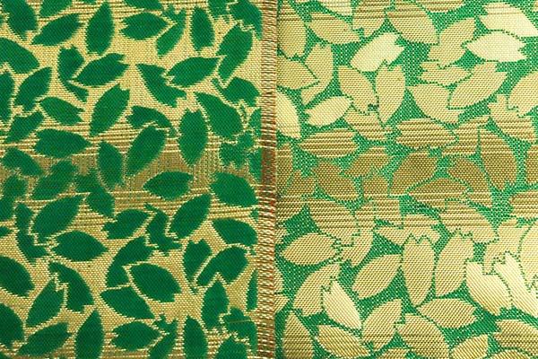 金襴などの手芸材料 日本の伝統 金襴 桜散らし 緑×金