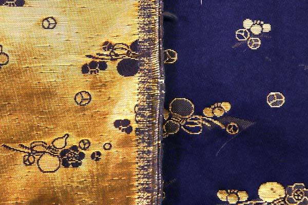 金襴などの手芸材料 日本の伝統 金襴 花と瓢箪 紫紺
