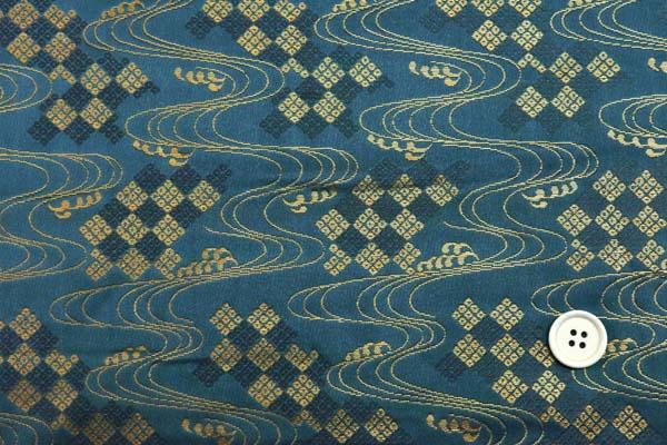 金襴などの手芸材料 日本の伝統 金襴 流水と疋田菱 鴨の羽色