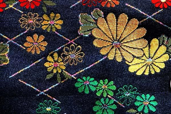 金襴などの手芸材料 日本の伝統 金襴 菊垣 濃紺