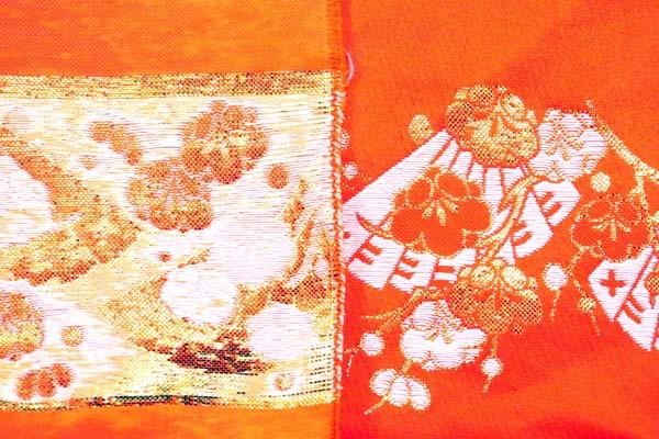 金襴などの手芸材料 日本の伝統 金襴 梅扇 朱赤地