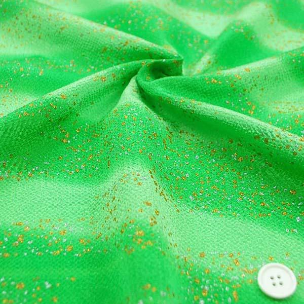 手芸用ちりめん 金彩吹雪 ぼかし 緑
