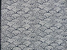 むら糸 和柄生地 和布 藍染風の伝統的な和風生地(青海波文様)(0668-04)