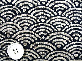 むら糸 和柄生地 和布 藍染風の伝統的な和風生地 青海波 (1001-94)