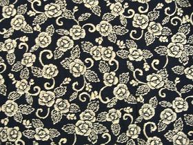 むら糸 和柄生地 和布 藍染風の伝統的な花柄の和風生地(牡丹柄)(0668-06)