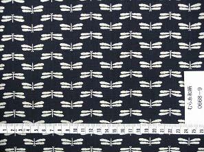 むら糸 和柄生地 和布 藍染風の伝統的な和風生地(トンボ柄・蜻蛉柄)(0668-09)