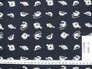 むら糸 和柄生地 和布 藍染風の伝統的な和風生地(魚柄)(0668-10)