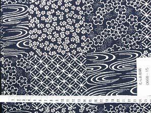 むら糸 和柄生地 和布 藍染風の伝統的な和風生地(桜・梅・七宝・観世水)(0668-15)