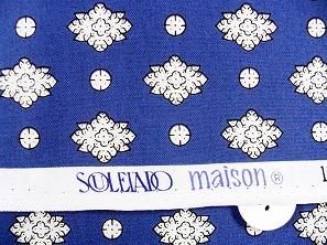 SOULEIADO ソレイアードの生地 ラ・メルヴェイユ 白色(青地)(0673-17)