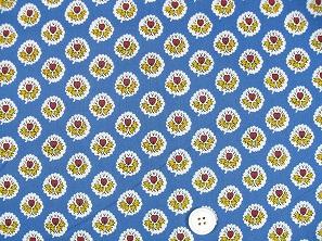 SOULEIADO ソレイアードの生地 ラ・フルール・ダルル青色(ブルー)(0673-32)