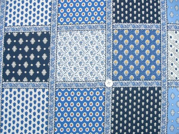 SOULEIADO ソレイアードの生地 パッチワーク柄 青色(ブルー系)(0673-68)