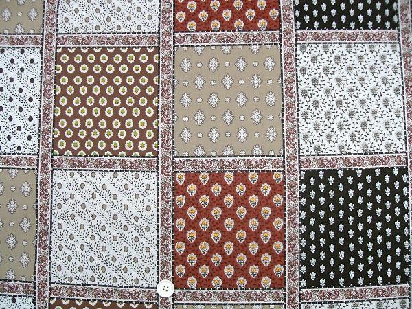 SOULEIADO ソレイアードの生地 パッチワーク柄 茶色(ブラウン系)(0673-69)