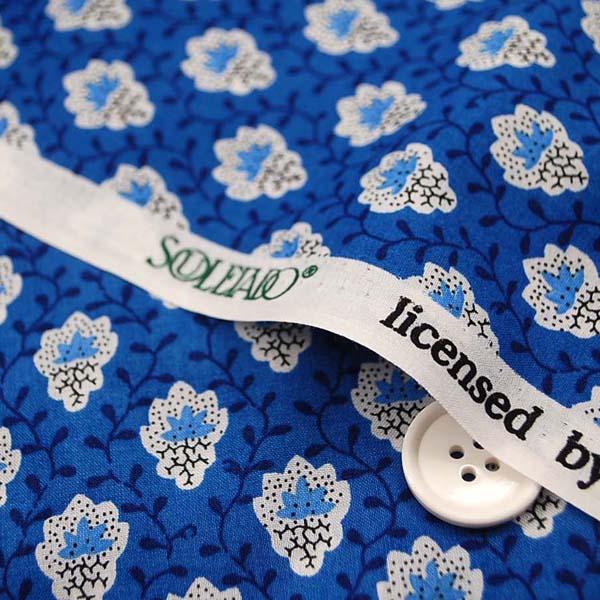 ソレイアード プティット・フルール・デシャン Petite Fleur des Champs 60ローンプリント生地 ブルー