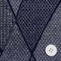 ちりめんプリント生地 紬文様パッチワーク 藍色 【50cm販売】  (0693-88)