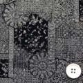ちりめんプリント生地 和柄 濃紺地×白 【50cm販売】  (06943-98)
