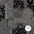 ちりめんプリント生地 和柄 黒地×オフ白 【50cm販売】  (06943-99)