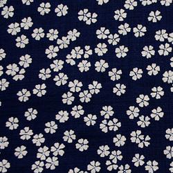 むら糸 和柄生地 和布 藍染風の伝統的な和風生地 さくら
