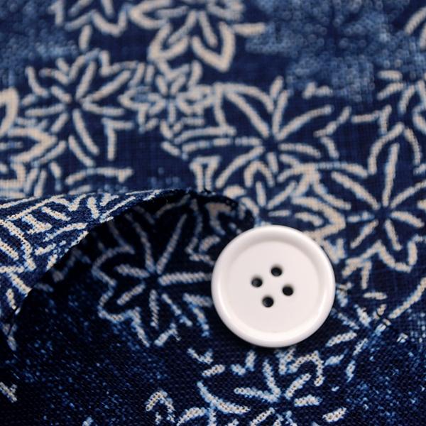 むら糸 和柄生地 和布 藍染風の伝統的な和風生地 もみじ