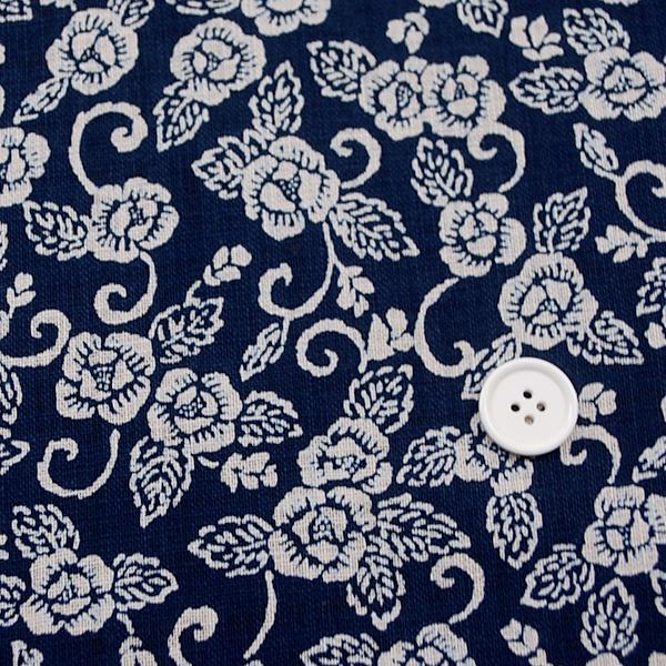 むら糸 和柄生地 和布 藍染風の伝統的な和風生地 牡丹唐草