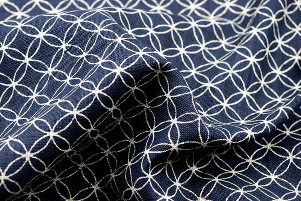 むら糸 和柄生地 和布 藍染風の伝統的な和風生地 七宝