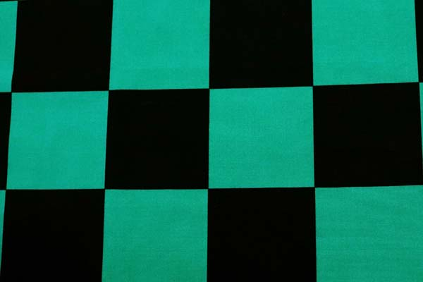 今話題の 日本の伝統柄 ブロードの市松格子 黒×緑
