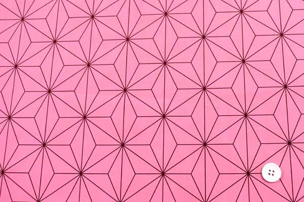 今話題の 日本の伝統柄 ブロードの麻の葉柄 ピンク