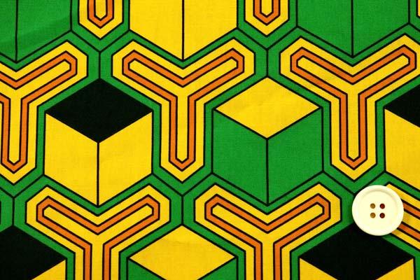 あの人気の和柄第6弾! 日本の伝統 ブロードの毘沙門亀甲紋 黄色×緑